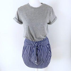 Anthro Maeve dress faux shirt sleeves tie waist S